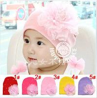 1pcs 2014 fashion children hats handmade flower baby caps & hats baby winter hat Headdress girl's cap gift