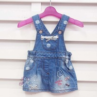 5 pcs/lot (1-4T) Wholesale Baby girl Dresses Denim Dress Infant Girls Lace dress Patch Embroidered Jeans Dress Free Shipping