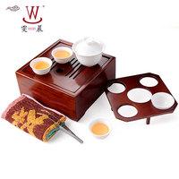 Pure white bone porcelain Ancient jade porcelain set of kung fu tea set Bamboo tea tray sifang tea boxes The portable travel
