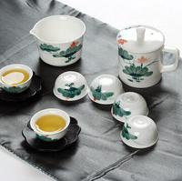 white hand painting ceramic tea set travel  portable set  tea set With six cups