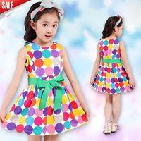 summer dress 2014 together girl's fashion apparel 3~12age teenage polka dots print cotton girl dress 1pcs retail free shipping