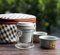 Kilns kung fu tea celadon peony embossed teapot tea cup set travel tea sets