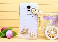 For samsung   i9600 phone case  for SAMSUNG   s5 of love diamond rhinestone pasted shell lovers love phone case