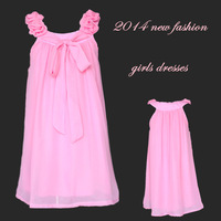 2014 new summer girl dress 3~9age solid flower together girl party wear brand children clothing free shipping