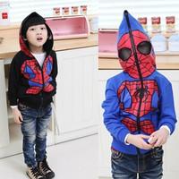 Spot 2014 spider man winter fall winter 120~160 teenage boys clothes free shipping 1pcs retailSpider-Man Jacket
