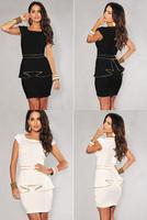 Fashion Sexy  Women dresses Cocktail party falbala Clubwear dress Seelveless Ladies Black / White Clothing