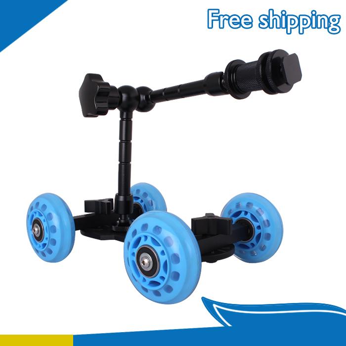 "11"" Articulating Magic Arm + Blue DSLR Skater Wheel Camera Truck Top Dolly Kit(China (Mainland))"