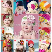 Cute Handmade Crochet Hat Baby Hat With Flower Infant Wool   Knitted Hats Kids Beanie Baby Cap Chidren Winter Hats