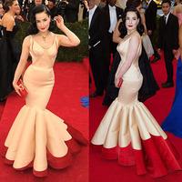 MET GALA 2014 Dita Von Teese Mermaid V Neckline Pleated Splice Open Back Sleeveless Long Design Celebrity Dress Prom Dress