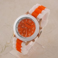 Unisex Casual Watches Fashion Geneva Watch Analog Silicone Band Round Alloy Candy Wristwatch New 2014