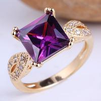 Women  Gold GF Sterling 925 Silver Ring Purple Amethyst Princess Cut Size 6 7 8 9 R101