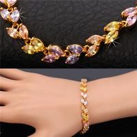 2014 New Girls Bracelet Brand 18K Real Gold Plated AAA+ Zircon Cute Floral Tourmaline Bracelet Gift Jewelry For Women MGC H5235