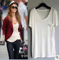 Hot Sale European Style Tshirt women's modal loose shirt V Neck Women Summer Fashion Short Sleeve  t-shirts Solid tshirt