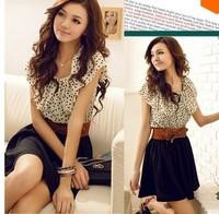 With Belt! Stock Ready 2014 Summer New Korean Women Fashion Chiffon Dress Ruffles Sleeve Dots Polka Waist Backless Dresses