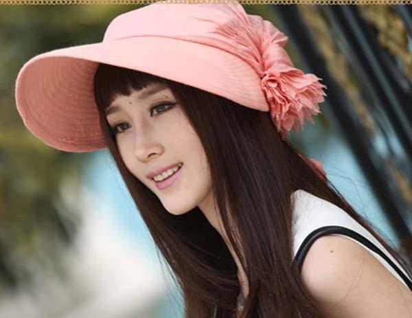 Hot sale female summer sun bonnet female folding canvas summer sun visor hat beach cap wide Brim for women flower straw caps(China (Mainland))