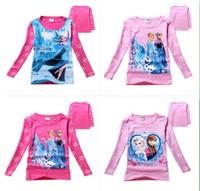 New 2014 100% Cotton Frozen Elsa, Anna girl long sleeve t shirt Kids Girls Frozen T shirts