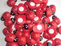 500pcs/lot1.4*1.9 cm wooden Bettle ladybird  fridge magnets self-adhesive ladybug stickers Easter decoration cute scrapbooking