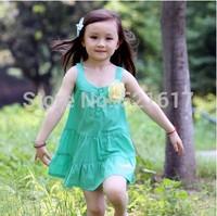 Retail ! children clothes 2014 summer Girls cute  green vest dress,FREE SHIPPING