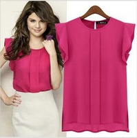 New 2014 Fashion Women Chiffon Sleeveless Ruffles Shirt Blouse Tops Solid Color Blouses OL Style Round Collar 4 Colors S,M,L,XL