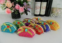 Free shipping 50pcs Chinese traditional 7.5*12*5cm  8 color butterfly knot silk wedding gift coin purse