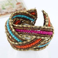 Hot Fashion Multicolor Bohemian Handmade Beaded Beads Twisted Charms Wide Cuff Open Bracelet Bangle Women