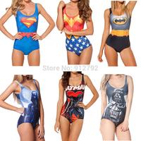 Hot Sexy Backless Swimwear Digital Print One-Piece Swimsuit Beachwear Cartoon Hero Wonder Wonman Super Man Batman Skull