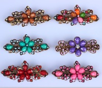 Fashion jewery 2014 new girl flower hair bands crystal hair pin  hair clip factory price new  barrettes alloy  women hair pins
