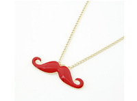 Fashion Jewelry 2014 New Design Charming Individual Gold Color Alloy Chain Enamel Black Mustache facia Beard Pendant Necklace