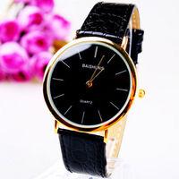 1piece Luxury Gold Edge Fashion Mens Black Watches Quartz Wrist Watch 06Free Shipping