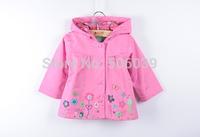 free shipping Topolino girls jacket baby waterproof hooded windbreaker children's wear print flower kids coat