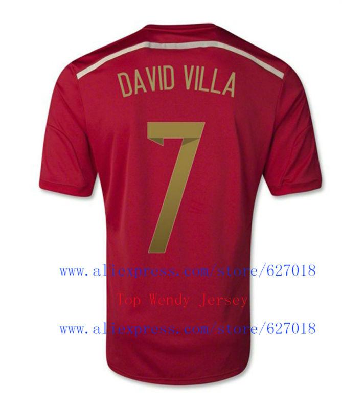 A+++ 7# DAVID VILLA Spain Spanish Kit 2014 World Cup Nation Soccer Jersey Camisetas De Futbol Uniform Customize Name(China (Mainland))