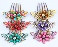2014 Fashion jewery  Kanzashi crystal hair pin  hair clip Resin  flower hair comb alloy  women hair jewelry