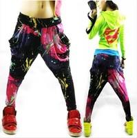 Hot SALE new arrival 2014 women Vintage Printed casual loose hip hop pants Street dance trousers Disco harem pants ZL5012