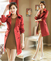 2014 New Hot Sales Fashion Women's Slim Double-breasted Dust Coat Wind Coat Long Outwear Trench Wholesale