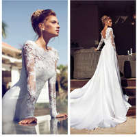 2014 New Arrive Custom Made lace Chiffon  Long Sleeve Wedding Dress Bridal Gown