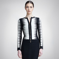 free shipping 2014 women black white jacquard zipper  O neck short design coat bandage jacket
