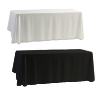 Tablecloth Table Cover White & Black for Banquet Wedding Party Decor 145x145cm