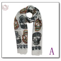 Character Colorful Skull Printed Scarf  Women Shawl  New Arrival Spring Winter Cotton Wraps Muslim Shawl