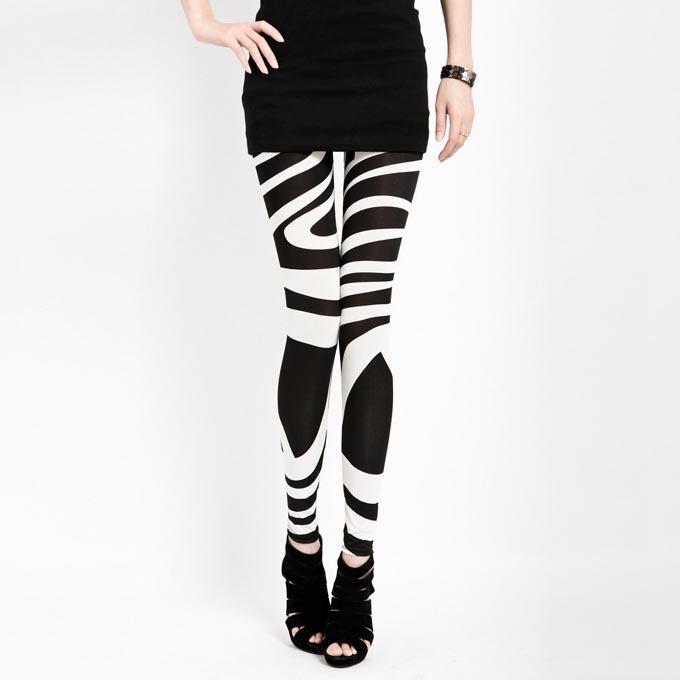 Black White Striped Leggings for Women Plus Size XXL Legins New 2014 Slim Girl Pants Vintage Print Woman Clothes Freshipping(China (Mainland))