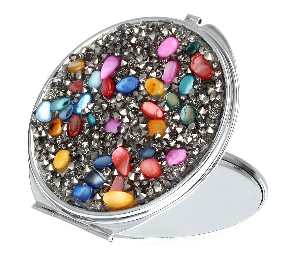 2015 multi color fashion Maquiagem Cosmetic Mirror Makeup Mirrors Semi Precious Stones Black Tone Seed Bea Ladies Fashion Pocket(China (Mainland))