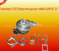 GT35R GT35 (T3 Flange) Anti-Surge AR .70 AR .63 T3 +V-BAND Flange Turbo turboCharger+VBAND-CLAMP SET 3.0 inch