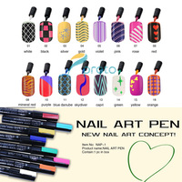 16 Pieces/ Set, 16 Colors New Nail Art Pen Painting Drawing Pen  Professional Nail Art Tool Manicures Wholesales SKU:XC0091