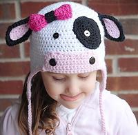 2014 New Arrival Kids Girl Boy Crochet Beanie Hats Winter Cap For Children Cute Cow Children Accessories Knitted Hat