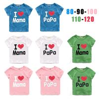 2014 children's clothing  love mom short-sleeve T-shirt male female child short-sleeve T-shirt 5set/lot ,free shipping