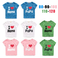 2014 children's clothing  love mom short-sleeve T-shirt male female child short-sleeve T-shirt 5set/lot ,free shipping