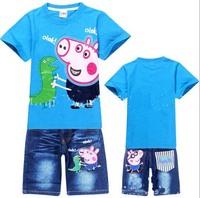 T-shirts + Jeans Set peppa pig george pig boy boys short sleeve tops t shirt short jeans Pants Children Boy Summer Set