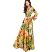 Women long evening dress Summer tropical flower printed chiffon long sleeve dress party evening elegant vestido de festa gowns