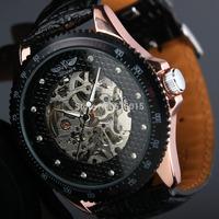 Winner brand Men's men Military sports watches Skeleton Hand Wind Mechanical Watch Wrist Watch PU Leather Strap Drop Ship