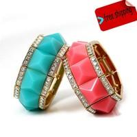 Bohemian Bracelet Resin Elastic Charms Bracelets Bangles For Women & Crystal Blue Bracelet