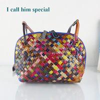 2014 Real Sale Women Handbag Bolsas Bolsa free Shipping Woven Bag One Shoulder Sheepskin Genuine Leather Shell Cross-body Female